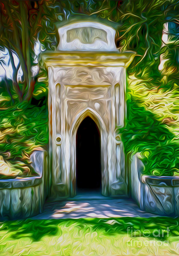 Graveyard Painting - Mountain View Cemetery Tomb - Number 4 by Gregory Dyer