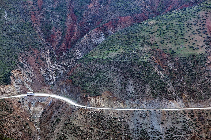 Horizontal Photograph - Mountain View From Tizi-n-test Pass (e 2092 Meters), Tizi-n-test Pass Road, Morocco by Walter Bibikow