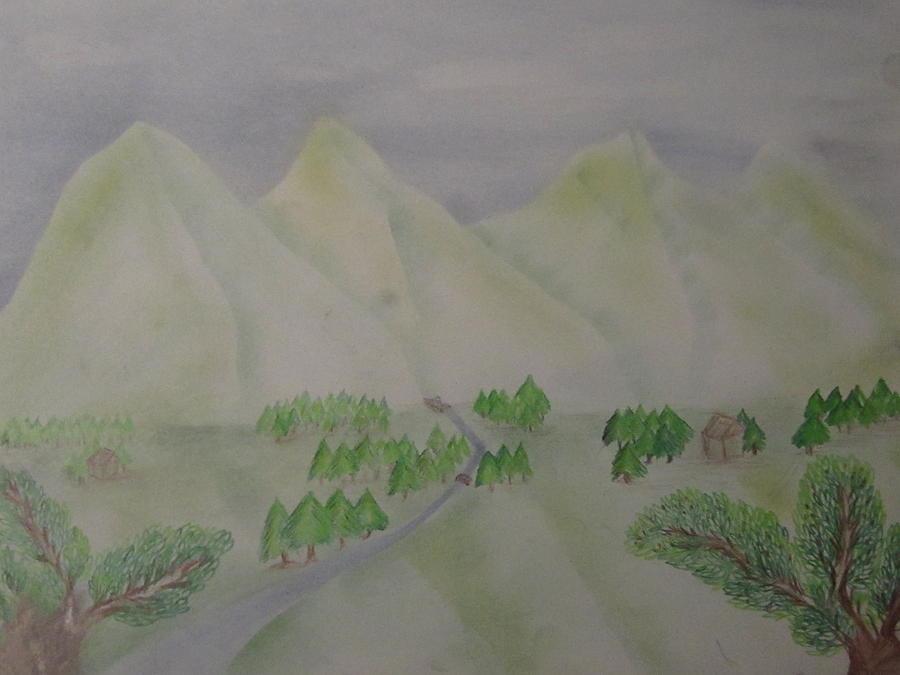 Mountain View Drawing By Sahar Daer