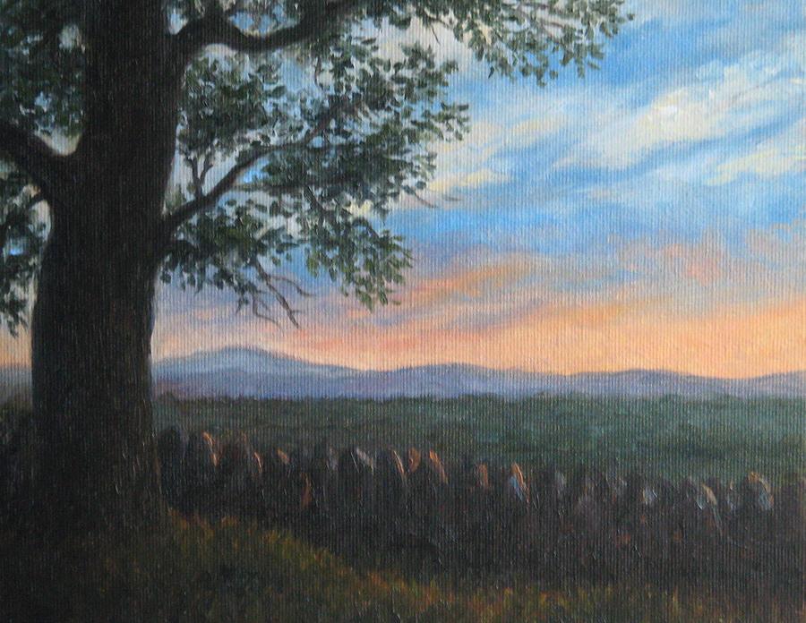 Landscape Painting - Mountain View Sunset by Oksana Zotkina