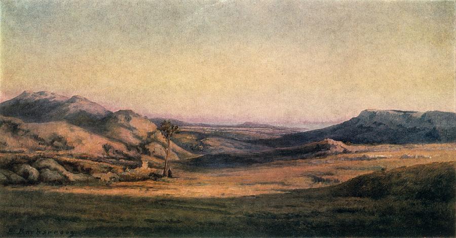 Horizontal Photograph - mountainous Countryside Painting By Edmond Barbazzona by Photos.com