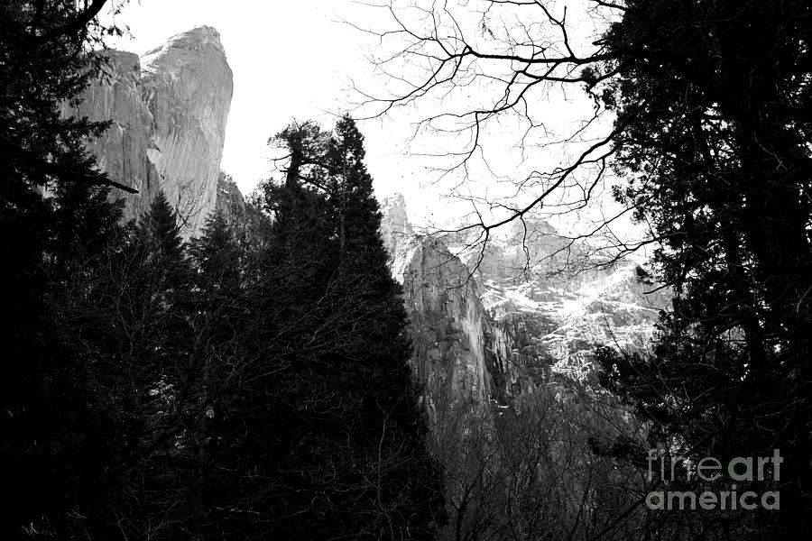 Black And White Photograph - Mountains Of Yosemite . 7d6213 . Black And White by Wingsdomain Art and Photography