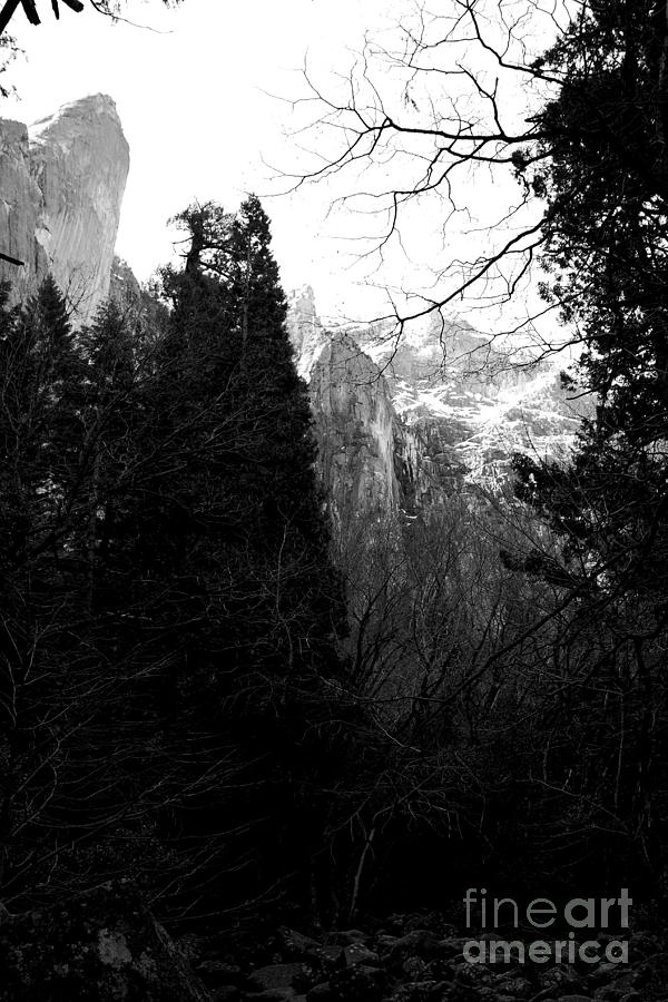 Black And White Photograph - Mountains Of Yosemite . 7d6214 . Black And White by Wingsdomain Art and Photography