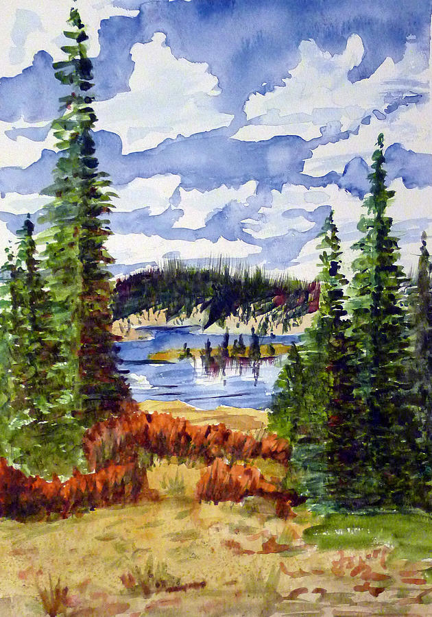 Lake Painting - Mountian Lake by Linda Pope