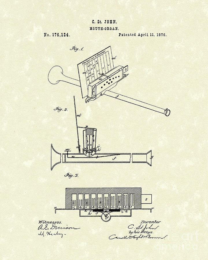 John Drawing - Mouth Organ 1876 Patent Art by Prior Art Design