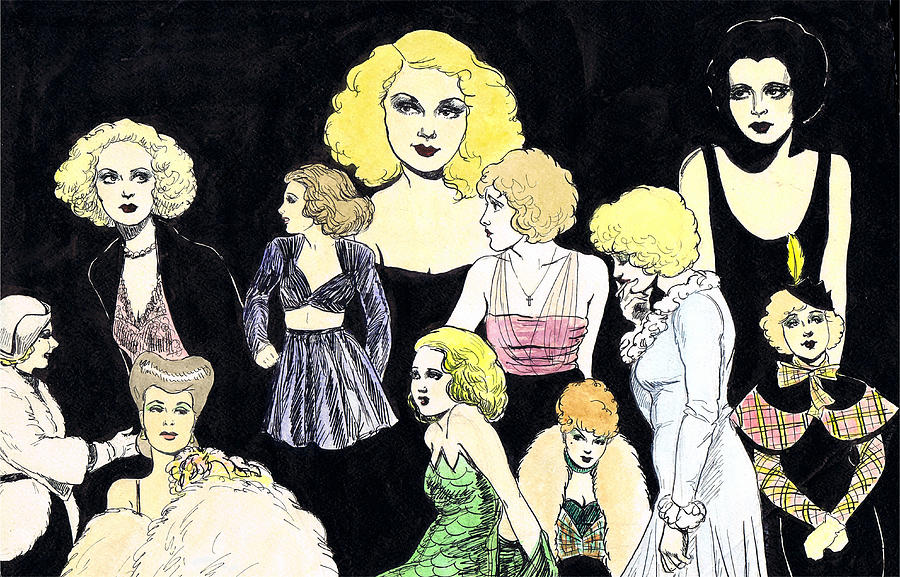 S Drawing - Movie Ladies Montage by Mel Thompson