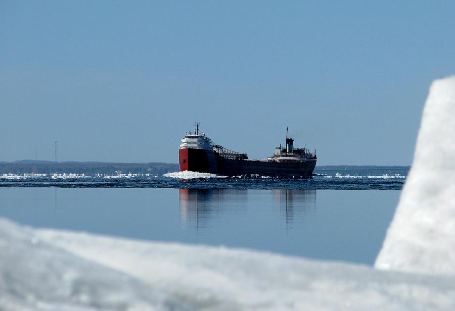 Freighter Photograph - Moving Through The Straits by Keith Stokes