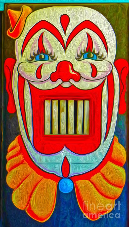 Santa Cruz Boardwalk Painting - Mr. Clown Teeth by Gregory Dyer
