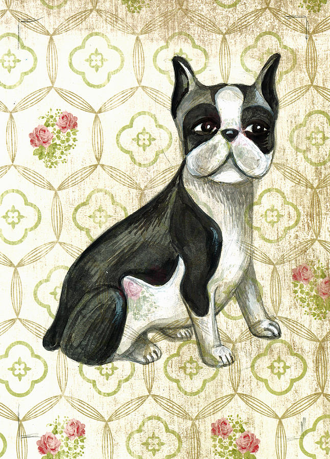 Dog Drawing - Mr. Iggy The Boston Terrier by Nancy Mitchell