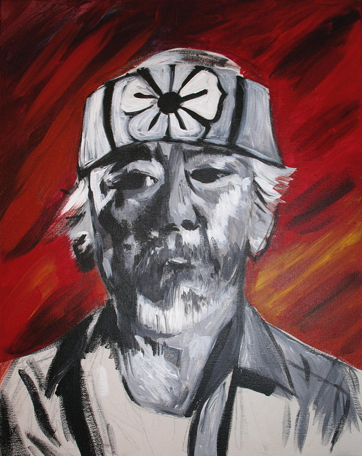 Portrait Painting - Mr. Miyagi by Kate Fortin