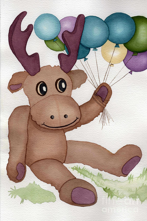 Moose Painting - Mr Moose With Balloons by Vikki Wicks