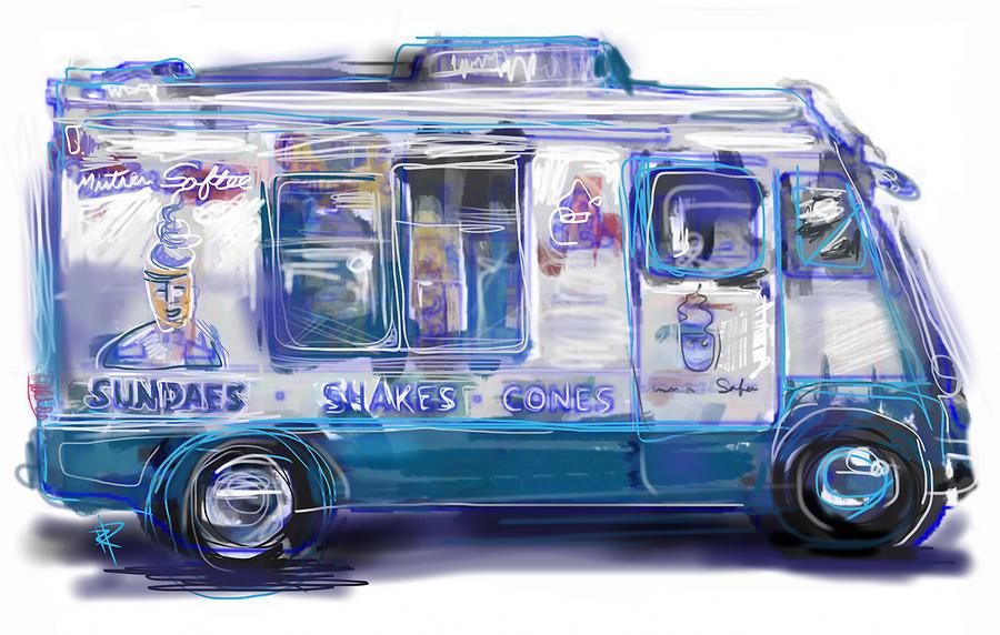 Ice Cream Mixed Media - Mr. Softee by Russell Pierce