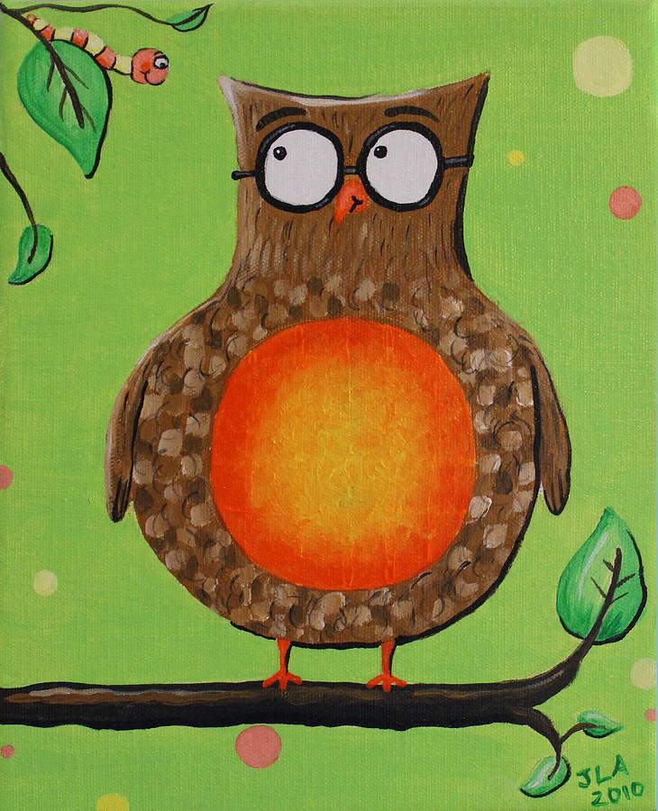 Owl Painting - Mr.owl by Jennifer Alvarez