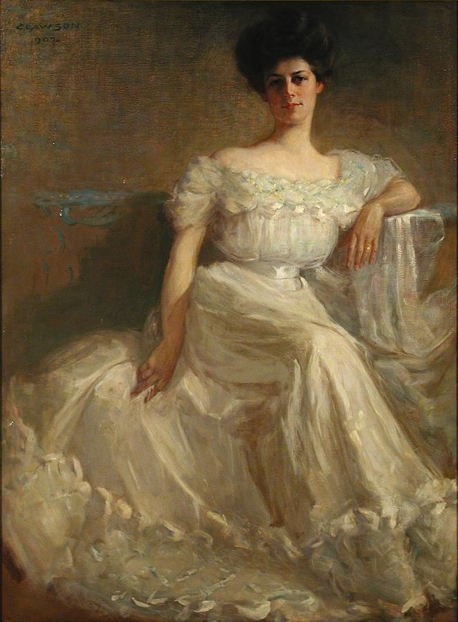 Female Painting - Mrs. Leslie Thayer Green by John Willard Clawson