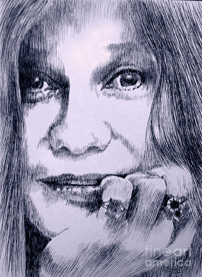 Janis Drawing - Ms. Joplin by Robbi  Musser