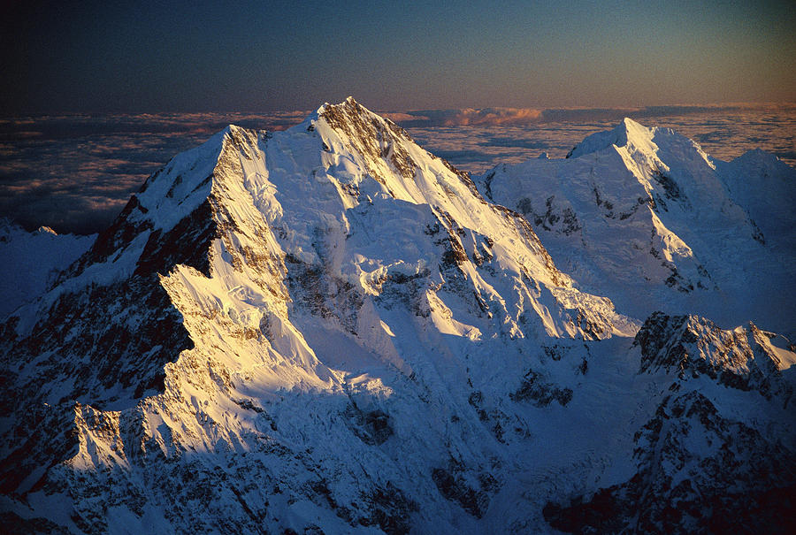 Mt Cook Or Aoraki And Mt Tasman, Aerial Photograph by Colin Monteath