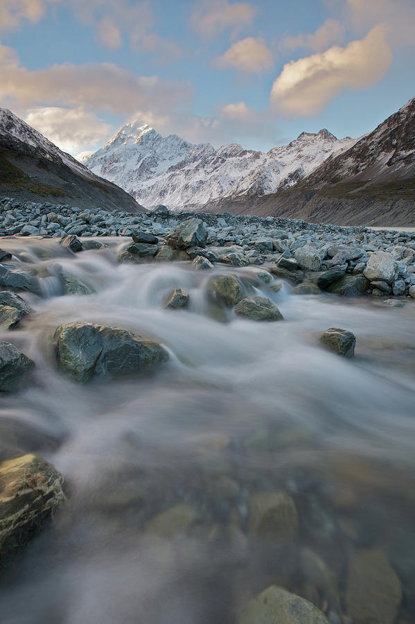 Vertical Photograph - Mt Cook Stream by Sven Klerkx