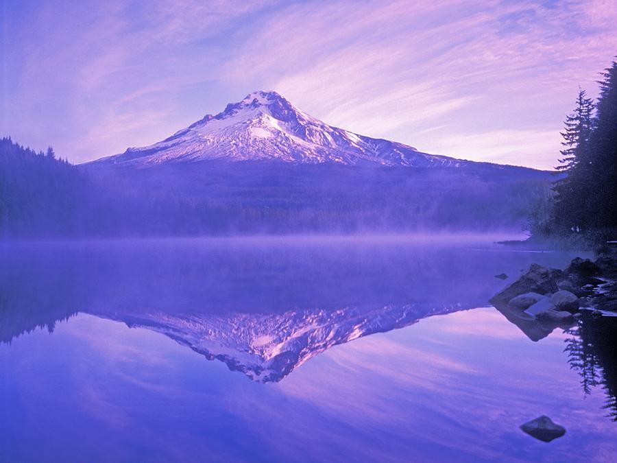 Color Image Photograph - Mt. Hood And Trillium Lake Mt Hood by Dan Sherwood