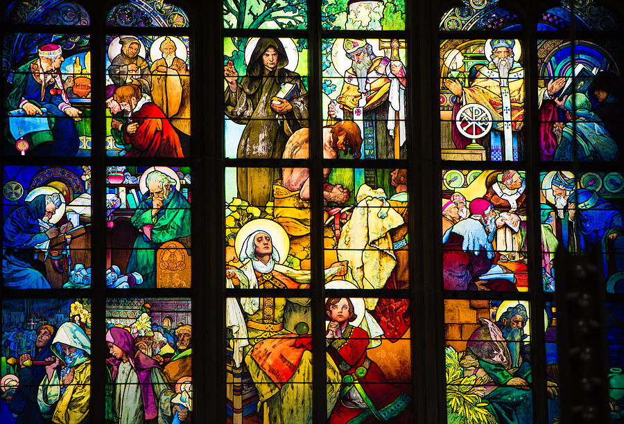 Mucha Photograph - Mucha Window St Vitus Cathedral Prague by Matthias Hauser
