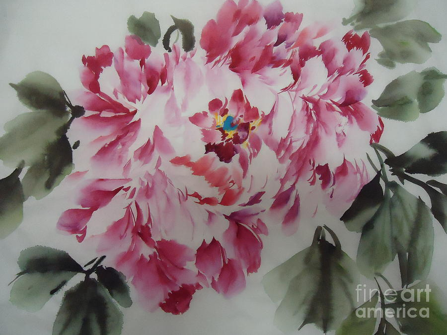 Floral Painting - Mudan by Dongling Sun