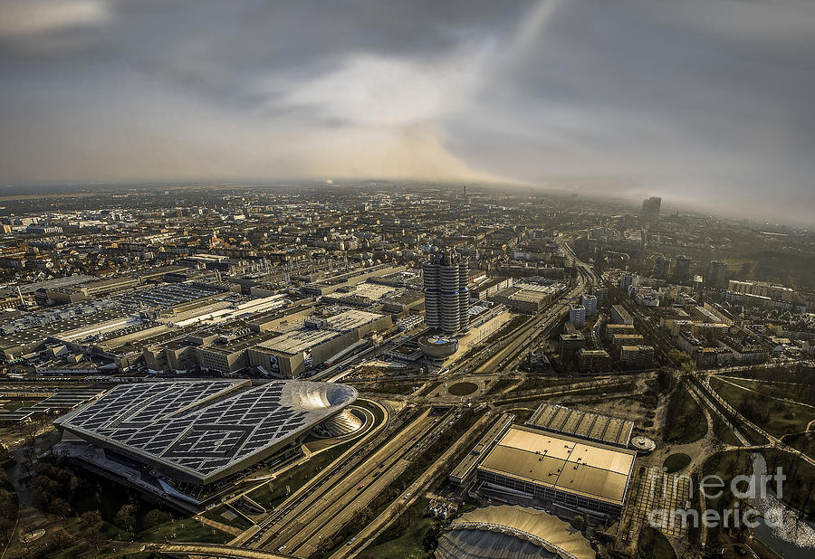 Architecture Photograph - Munich From Above - Vintage Part by Hannes Cmarits