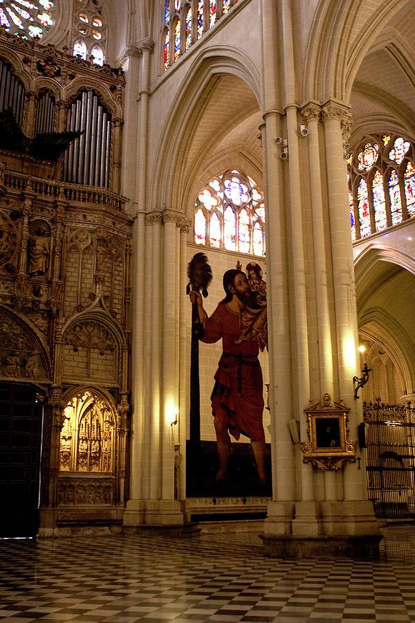 Toledo Photograph - Mural Of Saint Christopher And Baby Jesus by Lorraine Devon Wilke