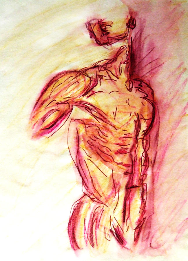 Muscle Painting - Muscled Male Nude Lying on Side in Classic Erotic Model Pose in Watercolor Purple and Yellow Sketch by M Zimmerman