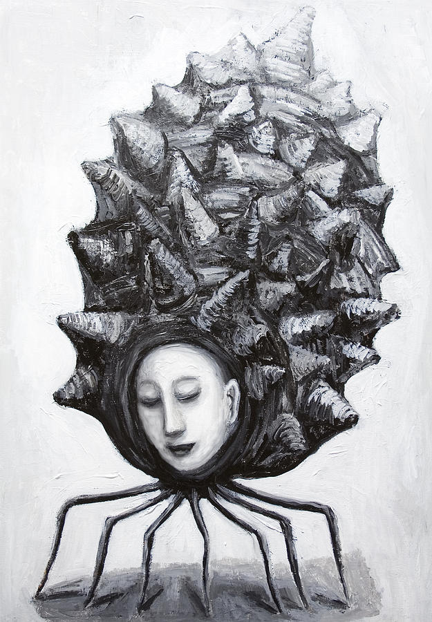 Black And White Painting - Muse In A Shell by Kazuya Akimoto