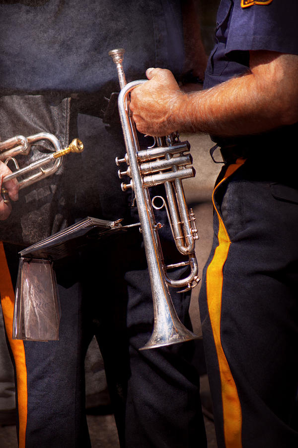 Trumpet Photograph - Music - Trumpet - Police Marching Band  by Mike Savad