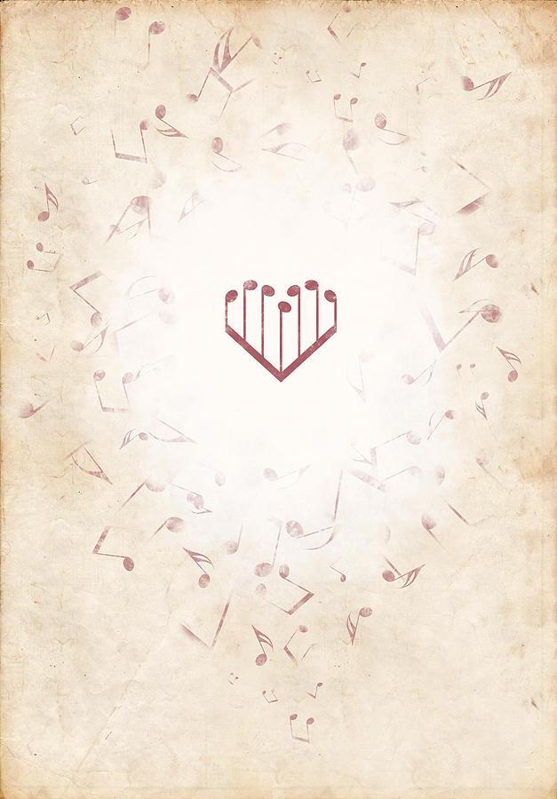 Music Digital Art - Music Heart Warm by Luka Balic