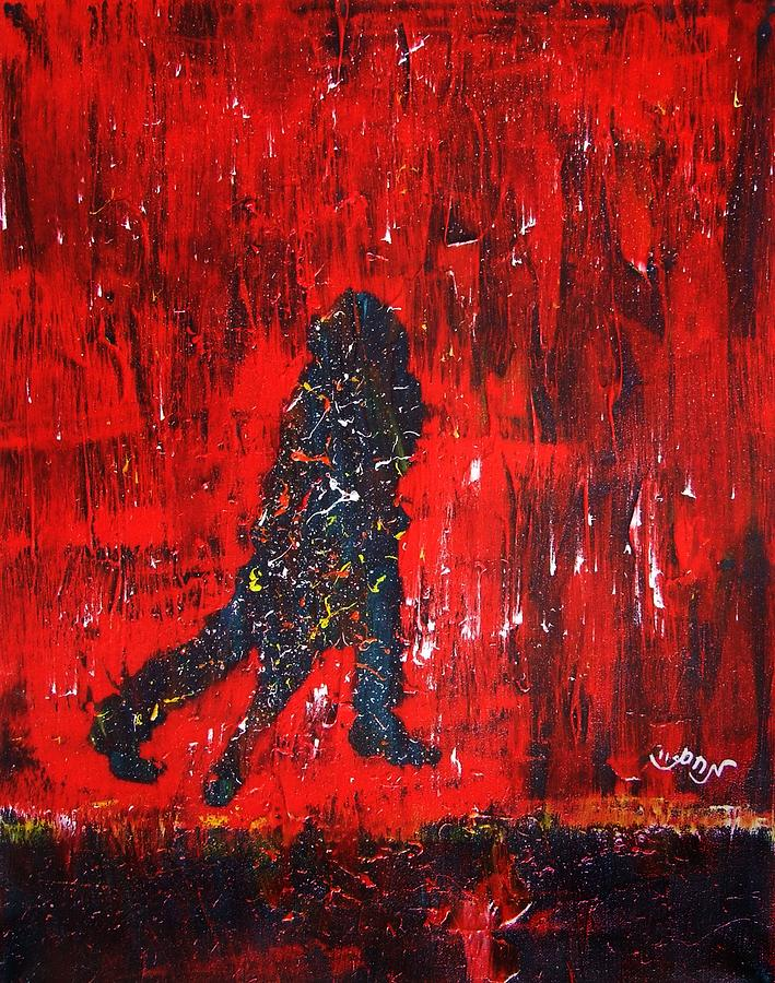 Music Inspired Dancing Tango Couple In Red Rain