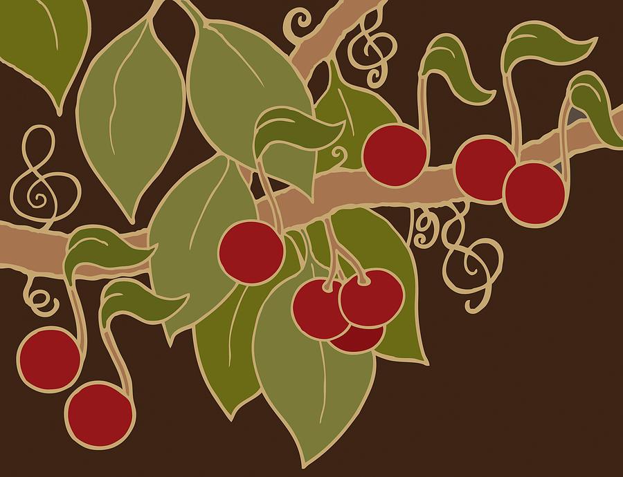 Musical Cherries Rectangle by Linda Ruiz-Lozito