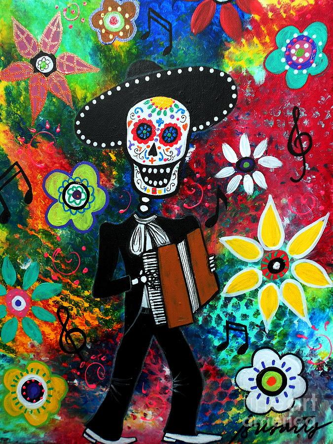 Music Painting - Musikero Dia De Los Muertos by Pristine Cartera Turkus