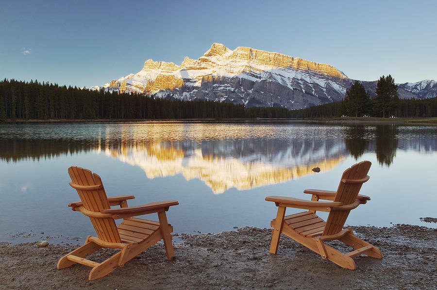 Muskoka Chairs In Front Of Mt Rundle Photograph By Darwin