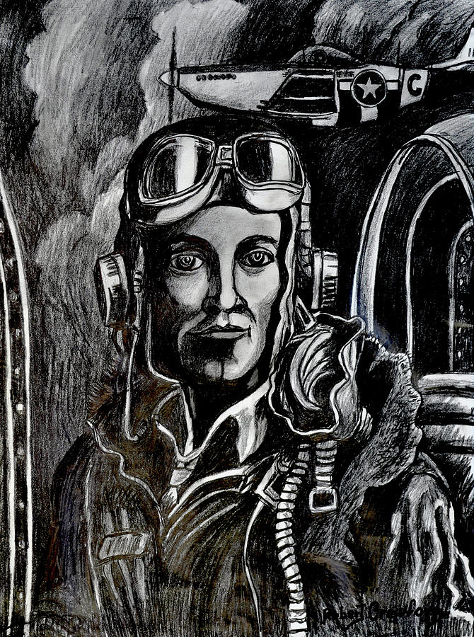 Pencil Drawing - Mustang Aces by Bob Crawford