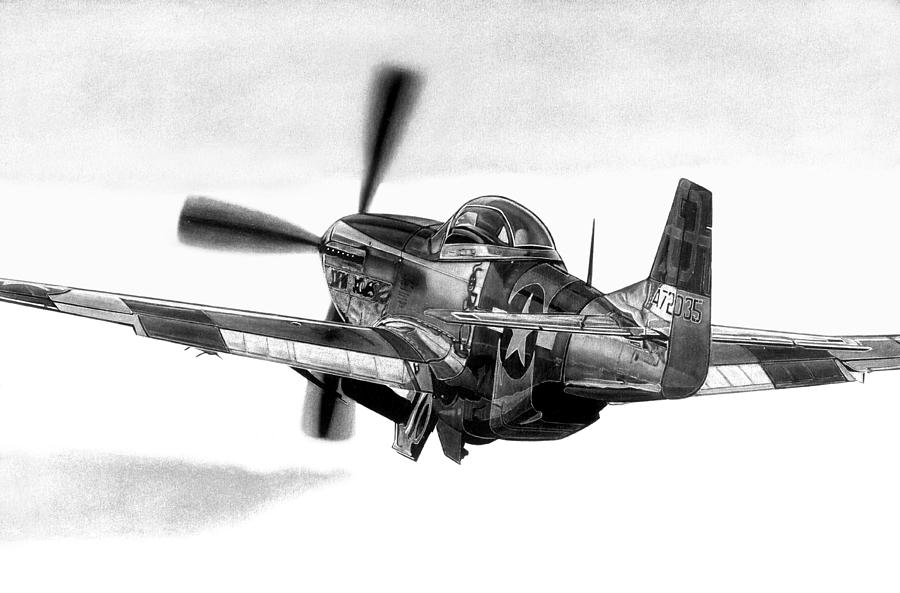Wwii Drawing - Mustang Away by Lyle Brown
