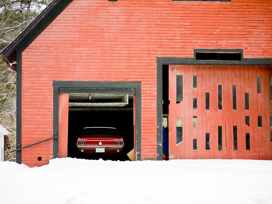 Ford Photograph - Mustang Car Barn by Edward Fielding