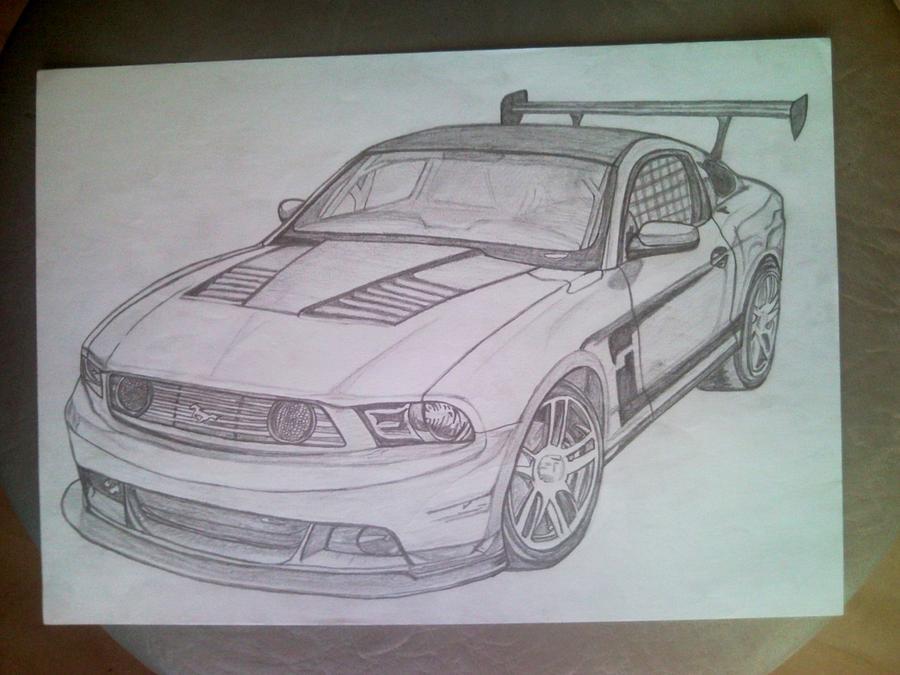 Mustang Drawing by Lucia Vratiakova