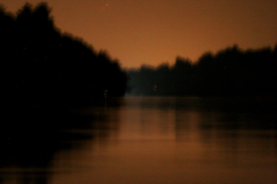 Moon Shine Photograph - Muted River Moon Shine by Artist Orange