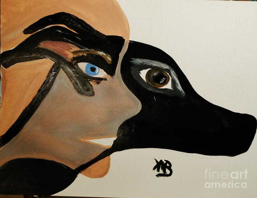 Me Painting - My Beloved Greyhound And Me by Marie Bulger