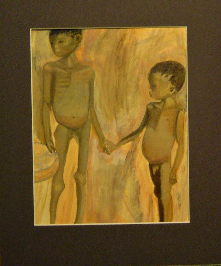 Sudan Painting - My Brother He Comforts Me by Connie Carleton