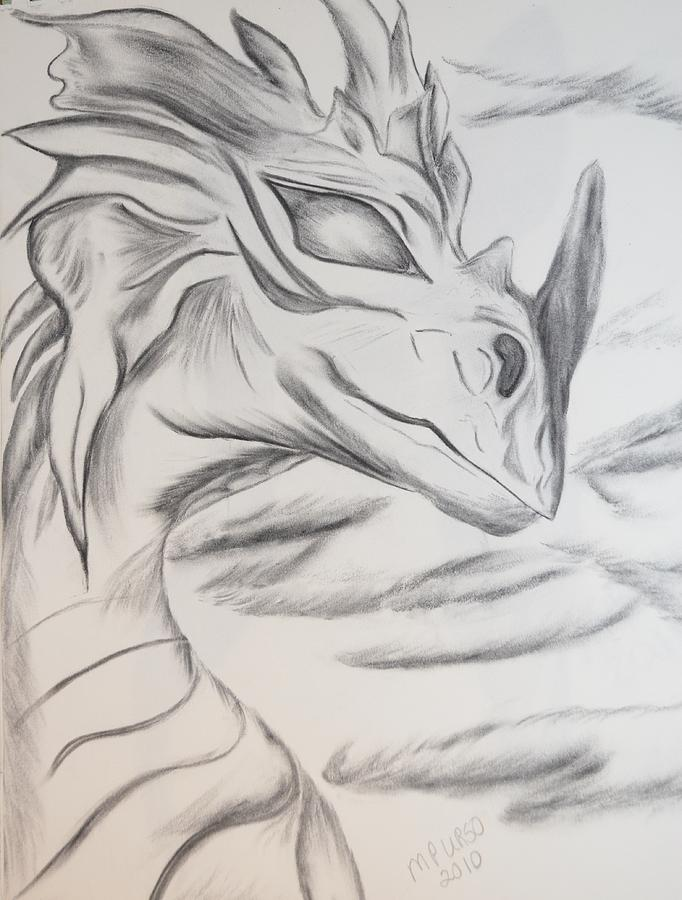 Dragon Drawing - My Dragon by Maria Urso