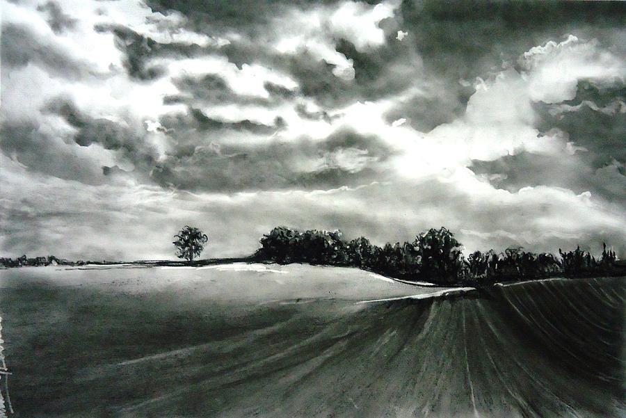 Landscape Drawing - My Farm Land by Mickey Raina