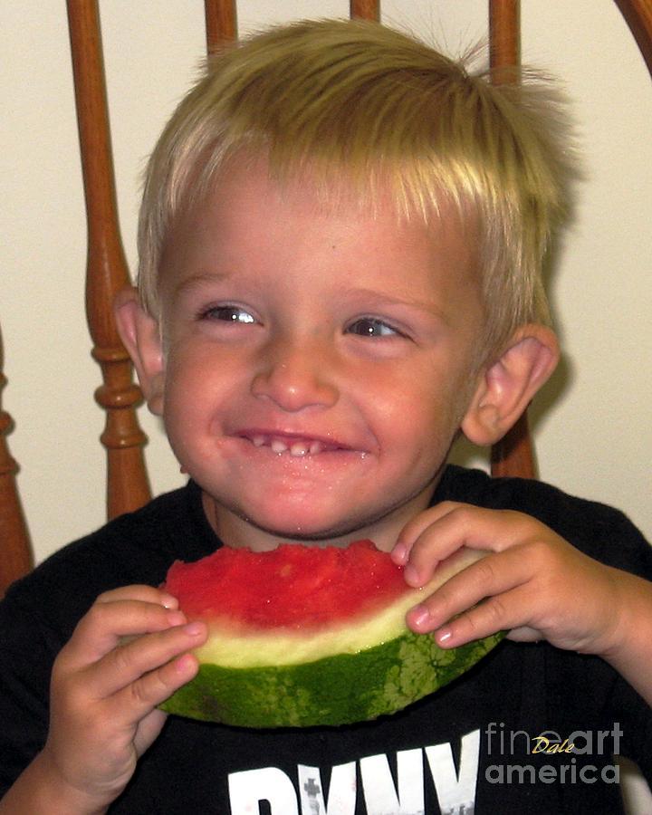 Boy Digital Art - My First Watermelon by Dale   Ford