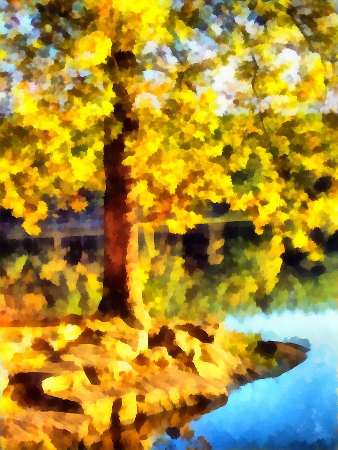 Tree Mixed Media - My Golden Tree by Angelina Tamez