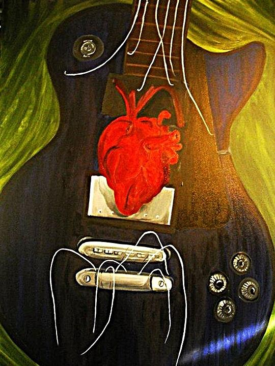 Guitar Painting - My Heart Is Music by Cristin Chambers