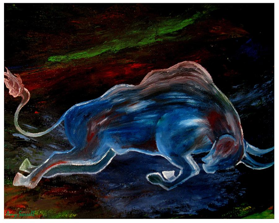 Abstract Bull Painting - My Love Begins by Amy Sorrell