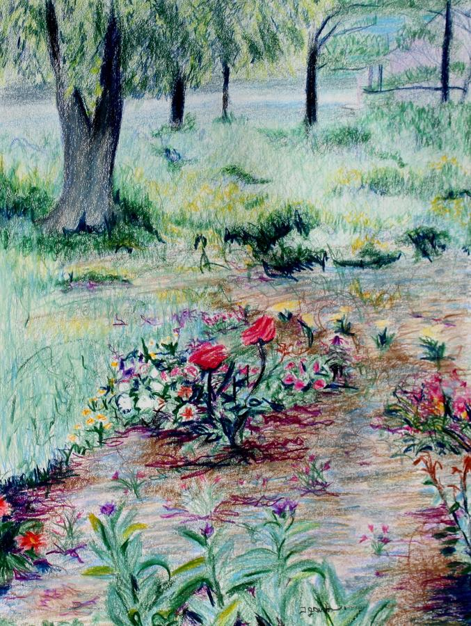 Landscape Drawing - My Moms Garden by Thomas J Nixon