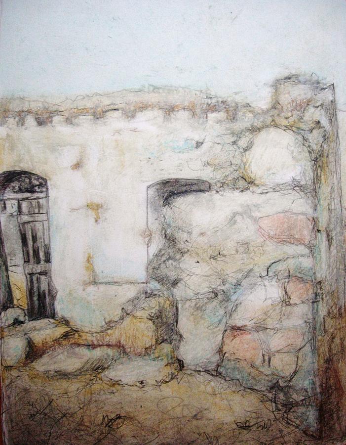 Greece Painting - My Neighbors Back Door by Diane montana Jansson