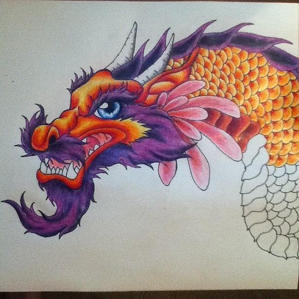 Dragon Drawing - My Next Tattoo by Erica Koczorowski